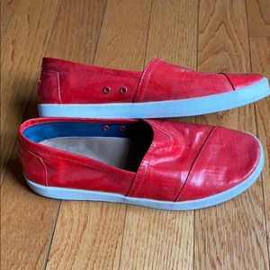 Toms Red Avalon Slip-On Shoes